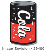 #29400 Royalty-Free Cartoon Clip Art Of A Black And Red Can Of Cola Soda