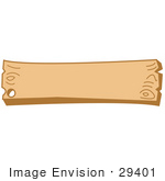 #29401 Royalty-Free Cartoon Clip Art Of A Blank Wooden Western Style Sign With A Nail Hole