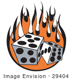 #29404 Royalty-Free Cartoon Clip Art Of A Pair Of Dice Rolling Over Flames At A Casino