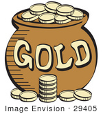 #29405 Royalty-free Cartoon Clip Art of a Stack Of Gold Coins Near A Pot Of Leprechaun's Gold by Andy Nortnik