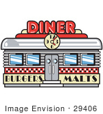 #29406 Royalty-free Cartoon Clip Art of a Retro Diner Building With A Clock On It And Signs Advertising Burgers And Malts by Andy Nortnik
