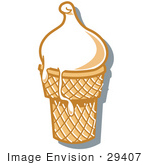 #29407 Royalty-Free Cartoon Clip Art Of A Vanilla Ice Cream In A Cone Melting Over The Rim