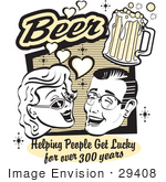 #29408 Royalty-Free Cartoon Clip Art Of A Woman And Man With Beer Beer Helping People Get Lucky For Over 300 Years