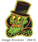 #29410 Royalty-Free Cartoon Clip Art Of A Grinning Human Skeleton Wearing A Hat Glasses And A Bowtie