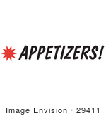 #29411 Royalty-Free Cartoon Clip Art Of An Appetizers Sign With A Star Burst