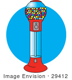 #29412 Royalty-free Cartoon Clip Art of a Gumball Vending Machine Full Of Colorful Balls Of Chewing Gum by Andy Nortnik