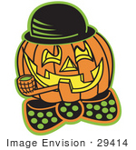 #29414 Royalty-Free Cartoon Clip Art Of A Carved Jack O Lantern Wearing A Hat And Bowtie And Grinning While Smoking A Pipe