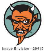 #29415 Royalty-Free Cartoon Clip Art Of A Mean Old Male Devil With Fangs And Horns