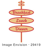 #29419 Royalty-Free Cartoon Clip Art Of A Vintage Tan Restaurant Sign Advertising Breakfast Lunch And Dinner