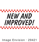 #29421 Royalty-Free Cartoon Clip Art Of A New And Improved Sign With Red Checker Borders