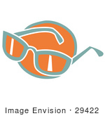 #29422 Royalty-Free Cartoon Clip Art Of A Pair Of Orange And Green Sunglasses Over An Orange Circle
