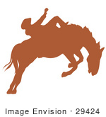 #29424 Royalty-Free Cartoon Clip Art Of A Brown Silhouette Of A Cowboy Riding A Bucking Bronco In A Rodeo