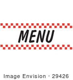 #29426 Royalty-free Cartoon Clip Art of  a Menu Sign With Red Checker Borders by Andy Nortnik