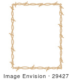 #29427 Royalty-Free Cartoon Clip Art Of A Rectangle Border Frame Of Barbed Wire Over A White Background