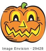 #29428 Royalty-Free Cartoon Clip Art Of A Grinning Carved Pumpkin On Halloween
