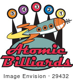 #29432 Royalty-Free Cartoon Clip Art Of A Space Rocket Flying Past Pool Balls On A Vintage Atomic Billiards Sign