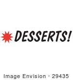 #29435 Royalty-Free Cartoon Clip Art Of A Desserts Sign With A Star Burst