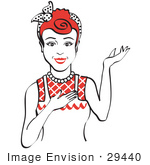 #29440 Royalty-Free Cartoon Clip Art Of A Friendly Red Haired Housewife Waitress Or Maid Woman Wearing An Apron And Resting One Hand On Her Chest While Holding The Other Hand Up