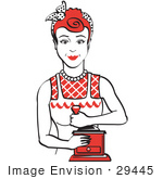 #29445 Royalty-Free Cartoon Clip Art Of A Red Haired Housewife Or Maid Woman Facing Front And Smiling While Using A Manual Coffee Grinder