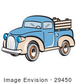 #29450 Royalty-free Cartoon Clip Art of a Blue and Tan Pickup Truck by Andy Nortnik