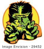 #29452 Royalty-Free Cartoon Clip Art Of A Male Werewolf Showing Fangs And Talons While Cast In Green And Yellow Lighting