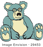 #29453 Royalty-Free Cartoon Clip Art Of A Blue And Tan Stuffed Teddy Bear Wearing Glasses