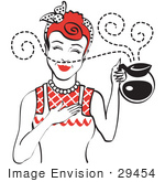 #29454 Royalty-Free Cartoon Clip Art Of A Red Haired Waitress Smelling The Wonderful Aroma Of Fresh Hot Coffee While Holding A Coffee Pot