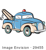 #29455 Royalty-free Cartoon Clip Art of a Blue Toy Tow Truck With A Hook by Andy Nortnik