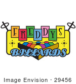 #29456 Royalty-Free Cartoon Clip Art Of A Rack Of Pool Balls On A Vintage Colorful Freddys Billiards Sign