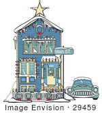 #29459 Royalty-free Cartoon Clip Art of a Car Covered In Snow Outside A Victorian House Decorated In Christmas Lights At 2365 Main Street by Andy Nortnik
