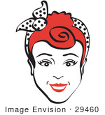 #29460 Royalty-Free Cartoon Clip Art Of A Friendly Red Haired Woman Smiling And Wearing A Scarf In Her Hair