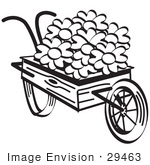 #29463 Royalty-free Cartoon Clip Art of an Old Fashioned Wooden Wheelbarrow With Pretty Daisy Flowers On Easter, Black and White by Andy Nortnik