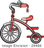 #29466 Royalty-Free Cartoon Clip Art Of A New Trike Bike With A Bell On The Handlebars