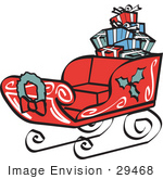 #29468 Royalty-Free Cartoon Clip Art Of A Red Sleigh Decorated With Holly And A Wreath Carrying Presents