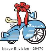 #29470 Royalty-Free Cartoon Clip Art Of A Brand New Blue Racer Tricycle Bike With A Red Ribbon In The Handlebars