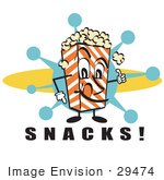 #29474 Royalty-Free Cartoon Clip Art Of A Popcorn Carton Character Filled With Buttery Popcorn Pointing Down At Text Reading &Quot;Snacks&Quot; At A Movie Theater