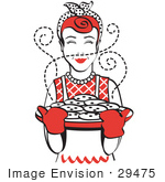 #29475 Royalty-free Cartoon Clip Art of a Red Haired Housewife Wearing An Apron And Oven Gloves, Smelling Fresh, Hot Chocolate Chip Cookies Right Out Of The Oven by Andy Nortnik