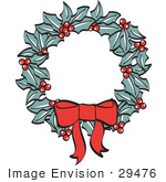 #29476 Royalty-Free Cartoon Clip Art Of A Red Bow On A Christmas Wreath Made Of Holly