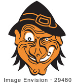 #29480 Royalty-Free Cartoon Clip Art Of An Evil Warty Halloween Witch'S Face Grinning