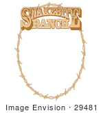 #29481 Royalty-Free Cartoon Clip Art Of An Oval Frame Made Of Barbed Wire On A Snakebite Ranch Sign