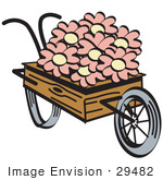 #29482 Royalty-Free Cartoon Clip Art Of An Old Fashioned Wooden Wheelbarrow With Pretty Pink And White Daisy Flowers On Easter