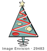 #29483 Royalty-Free Cartoon Clip Art Of A Triangular Christmas Tree With Ornamants And A Star On Top