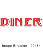 #29484 Royalty-Free Cartoon Clip Art Of A Red Diner Sign