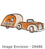 #29486 Royalty-free Cartoon Clip Art of an Orange Convertible Car Pulling A Trailer by Andy Nortnik