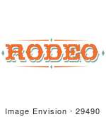 #29490 Royalty-Free Cartoon Clip Art Of A Western Orange Rodeo Sign
