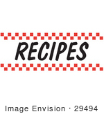 #29494 Royalty-Free Cartoon Clip Art Of A &Quot;Recipes&Quot; Sign With Red Checker Borders