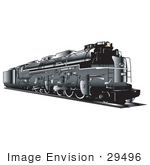 #29496 Royalty-free Cartoon Clip Art of a Black Train Travelling On Rails by Andy Nortnik