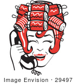 #29497 Royalty-Free Cartoon Clip Art Of A Red Haired Housewife With Her Hair Up In Curlers Laughing While Talking On A Landline Telephone