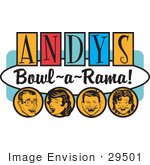 #29501 Royalty-Free Cartoon Clip Art Of A Man Woman Boy And Girl Laughing And Having Fun On A Vintage &Quot;Andy'S Bowl-A-Rama!&Quot; Sign