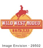 #29502 Royalty-Free Cartoon Clip Art Of A Vintage Wild West Rodeo Advertisement With A Cowboy Riding A Bucking Bronco
